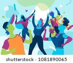 young people celebrate during a ... | Shutterstock .eps vector #1081890065