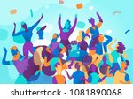 young people celebrate during a ...   Shutterstock .eps vector #1081890068