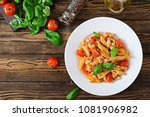 penne pasta in tomato sauce... | Shutterstock . vector #1081906982