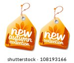 New autumn collection labels. - stock vector
