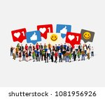 large group of people with like ... | Shutterstock .eps vector #1081956926