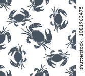 seamless pattern with crabs.... | Shutterstock .eps vector #1081963475