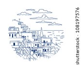 card with the sea island village | Shutterstock .eps vector #108197576