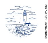 card with the lighthouse | Shutterstock .eps vector #108197582
