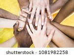 top view of multiracial... | Shutterstock . vector #1081982258