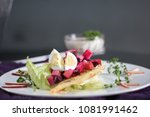 delicious salad in a white... | Shutterstock . vector #1081991462
