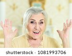 beautiful senior woman with... | Shutterstock . vector #1081993706