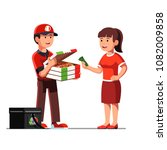 smiling courier man showing... | Shutterstock .eps vector #1082009858