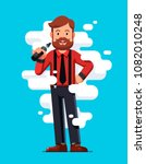 smiling standing bearded... | Shutterstock .eps vector #1082010248