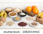 carbohydrates different plates  | Shutterstock . vector #1082014442
