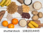 carbohydrates different plates  | Shutterstock . vector #1082014445
