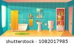 vector bathroom interior with... | Shutterstock .eps vector #1082017985