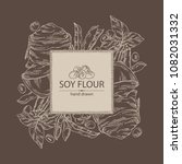 background with soy flour  bag... | Shutterstock .eps vector #1082031332