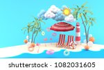 deck chairs under the beach... | Shutterstock . vector #1082031605