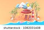 deck chairs under the beach... | Shutterstock . vector #1082031608