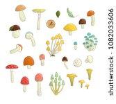 vector set of colored mushrooms....   Shutterstock .eps vector #1082033606