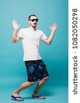 full lenght young summer man in ... | Shutterstock . vector #1082050298