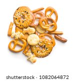 mixed salty snack crackers and... | Shutterstock . vector #1082064872