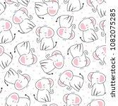 seamless cute princess elephant ... | Shutterstock .eps vector #1082075285