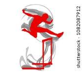 hurdling man race vector... | Shutterstock .eps vector #1082087912