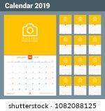 wall calendar for 2019 year.... | Shutterstock .eps vector #1082088125