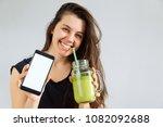 young pretty woman portrait... | Shutterstock . vector #1082092688