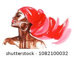 watercolor beauty african woman.... | Shutterstock . vector #1082100032