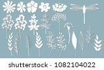 flowers  leaves  dragonfly for... | Shutterstock .eps vector #1082104022