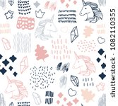 seamless pattern with unicorns.   Shutterstock .eps vector #1082110355