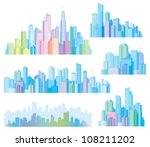 colorful panorama of cities. | Shutterstock .eps vector #108211202