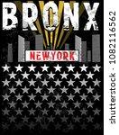 bronx print tee graphic design | Shutterstock .eps vector #1082116562