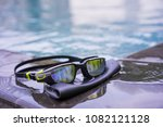 swimming sport goggles and... | Shutterstock . vector #1082121128