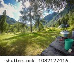 campground with tent an camping ... | Shutterstock . vector #1082127416