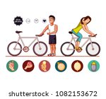 young athletes training sport... | Shutterstock .eps vector #1082153672