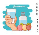 healthy food diet set products | Shutterstock .eps vector #1082155196