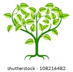 A green abstract tree illustration with branches growing into a heart shape. - stock vector