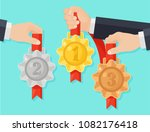 set of gold  silver  bronze... | Shutterstock .eps vector #1082176418
