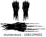 black panther paw and claw | Shutterstock .eps vector #1082199002