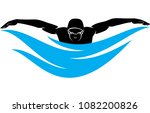 stylized male swimmer swimming... | Shutterstock .eps vector #1082200826
