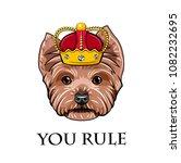 yorkshire terrier dog king.... | Shutterstock .eps vector #1082232695