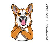welsh corgi dog. middle finger... | Shutterstock .eps vector #1082233685