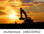 sunset and silhouette of power... | Shutterstock . vector #1082233922