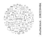 hand drawn doodle stop plastic... | Shutterstock .eps vector #1082234486