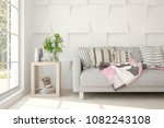 white modern room with sofa.... | Shutterstock . vector #1082243108