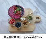 acai smoothie bowl with berry ... | Shutterstock . vector #1082269478
