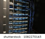 ethernet cables in rack cabinet ... | Shutterstock . vector #1082270165