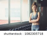fitness asia woman doing... | Shutterstock . vector #1082305718