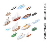 ship and boat icons set in... | Shutterstock .eps vector #1082311418