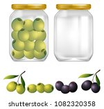 green and black olives in jar... | Shutterstock .eps vector #1082320358