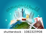 around the wotld concept with... | Shutterstock .eps vector #1082325908